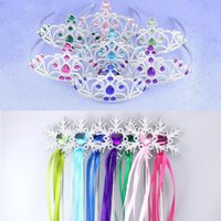 Wholesale Colorful Stick - Snowflake ribbon wands crown set fairy wand girl Christmas party snowflake gem sticks magic wands headband elsa crown tiara colorful