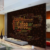 Fotowand Dekor Kaufen -Kaffee Buchstaben Wallpaper Custom 3D Wandbild Fashion Foto Tapete Coffee Shop Schlafzimmer Room Decor Restaurant Interior Design