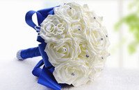 Wholesale High Quality Wedding Bouquet - 2015 New Arrival Wedding Bouquet Crystals Handmade Silk Rose High Quality Artificial Decoration Bride Holding Bridesmaid Flowers WF001
