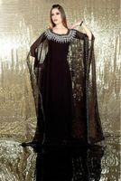 Wholesale Silk Embroidered Pictures - Arabic kaftan dresses Elegant Charming Embroidered Black Long Sleeve Chiffon Dubai Abaya traditional Dress Evening Dres