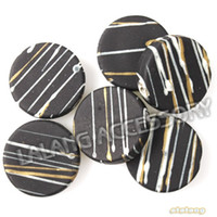 Wholesale Striped Acrylic Spacer Round Beads - 120pcs lot Promotion Hot Round Like White&Yellow Striped Black Acrylic Small Hole Spacer Beads 19*5mm Fit Jewelry DIY 112732