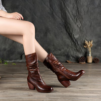 Wholesale Women High Heels 7cm - wholesale drop shipping genuine leather 7cm brown high heeled winter women fold tall boots booties size35-40