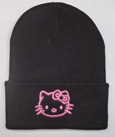 Schwarz Rosa Hallo Kitty Strickmütze Hut Super Warm Winter stricken Mützen Cap Männer Frauen Stickerei Strickmützen Cartoon Skullies Caps