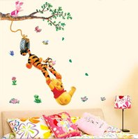 Wholesale 3d Tree For Kids Wall - Pooh tree Animal Cartoon Vinyl Wall stickers for kids rooms Home decor DIY Child Wallpaper Art Decals 3D Design House Decoration