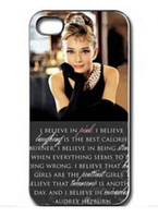 Wholesale Iphone 4s Case Audrey - New Cute Audrey Hepburn Hard Plastic Mobile Phone Case Cover For Iphone 4 4S 5 5S 5C 6 6 Plus