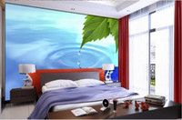 Wholesale Tv Wall Drop - 3d nature wallpapers Water drop Green leaf TV background wall desktop wallpaper free