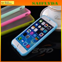 Wholesale Transparent Frosted Pc Tpu - Candy Color Slim TPU+PC Transparent Clear Matte Frosted Hard Case Cover for iphone 4 4S 5 5S 5C iphone 6 iphone 6 plus
