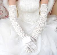 gants blancs à volants achat en gros de-2016 satin rouge noir blanc arabe volants longs gants de mariée