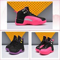 Wholesale Kids Hunting Boots - new kids shoes air retro 12 deadly pink black 510815-026 kid basketball 12s boy grils running shoe sports tennis designer trainer sneakers