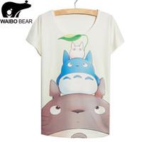Wholesale Pyramid Shirt - Hot Sale Female Tops&Tees O-Neck Harajuku T-Shirt Summer Casual Batwing Sleeve Pyramid totoroes Cartoon Print Women T Shirt