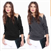 Wholesale Button Ups Shirts Women - Womens Tshirts girls clothes zipper up off shoulder long Sleeve casual T shirt cotton Tops T-Shirt 9741