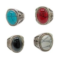 Wholesale Vintage Bezel Set Engagement Rings - Vintage Gemstone Rings Vintage charm oval Turquoise Antique Silver Rings Tibetan Rings for men Turquoise assorted designs with four color