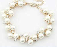 Wholesale Diamond Pearl Ring Designs - Fashion New Brand Design Luxurious 18K Gold Charm Crystal Cubic Zircon Diamond Pearl Beads Bracelet For Women Jewelry