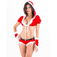 Wholesale Sexy Female Santa Costumes - New Classic Two Pieces Cosplay Miss Santa Clause Sexy Christmas Costume W208532