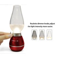 Wholesale Hot Cup Usb - Hot LED Retro Lamp Lamps Novelty Lighting USB Rechargeable Blowing Kerosene Adjustable Blow On-Off Night Light Home Decroration 002954