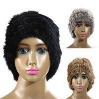Wholesale Nature Tie - EASTERN FUR Free Shipping Genuine Knit Rabbit Fur Hat Nature Rabbit fur Cap Headgear Headdress Various Fashion Women