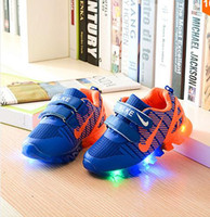 Lace-Up sports nets - Kids Shoes With Light New Spring Net Breathable Boys Fashion Sneakers Chaussure Led Enfant Sport Running Girls Shoes