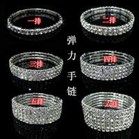 Wholesale Snake Wedding Rings - 1 row 2 row 3 row 4 row Tennis bracelet Bridal jewelry rhinestone bracelet cystl stretch bracelets bridal wedding rhinestone bracelet