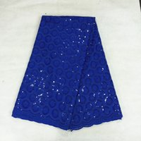 Wholesale yards BC18 Royal blue african lace fabric with sequins High cotton fabric swiss voile lace for party dress