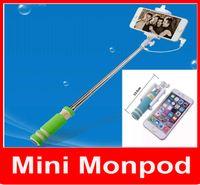 ingrosso monopod per cellulari-Super Mini Wired Selfie Stick Portatile pieghevole estensibile portatile monopiede con timer automatico Groove Cavo per iPhone Samsung cellulare