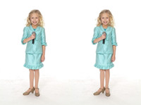 Wholesale Christmas Outfits Girls Pageants - Little Girls Pagenat Interview Outfits 2017 Hot Sale Light Sky Blue Sheath Girls Dresses Special Occasion Kids Girls Pageant Interview Suits