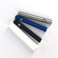 batterie vaporisateur bleue achat en gros de-Chaud 380mah MAX préchauffant rechargeable stylo vaporisateur tension réglable batterie épaisse huile avec bouton o stylo argent bleu noir