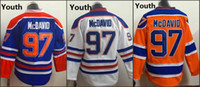 ingrosso pullover hockey americano-Youth Kids Edmonton # 97 Connor McDavid White Orange Blue 2015 Premier americano Hockey Maglie Ice Winter Home Away Jersey cucito autentico