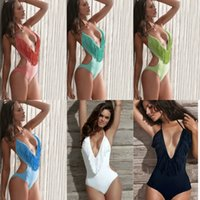 Wholesale Tassel Swimwear Monokini - Fringe One Piece Swimwear For Women Monokini Triangle Swimsuit Deep V Neck Tassels Celebrity-status Bathing Suits 49109