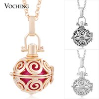 Wholesale Brass Ball Pendant - Caller Harmony 3 Colors Angel Ball Necklaces Copper Matal with Stainless Steel Chain VOCHENG VA-011
