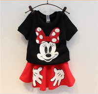 Wholesale Casual Mini Skirt Outfits - Girl Summer Clothing Set Outfits Black Cartoon Mickey Mouse Short Sleeve T-shirt+Red Short Skirts Mini Skirt Kids Casual Sets Suits 5set lot