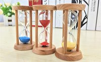 Wholesale Count Down Timer Clock - Fashion 3mins Wooden Frame Sandglass Sand Glass Hourglass Time Counter Count Down Home Kitchen Timer Clock Decoration Gift wen4730