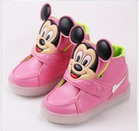 Wholesale Cartoon Boy Girl Hard - 2016 Fashion Boys Girls Sneakers Kids Led Lighting Shoes Child Casual Athletic Shoes Baby Luminous Flat Sneaker Cartoon Mickey Mouse Sneaker