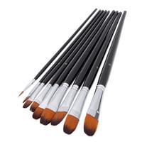 Wholesale Acrylic Artist Paint Set - Nylon Hair Paint Brush Set Filbert Head Wooden Handle Artists Gouache Watercolor Acrylic Brushes Art Supplies 9pcs set H14891