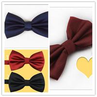 Wholesale pink ties wholesale - Bow Tie Necktie Bow Tie Fashion Mens Wedding Manual and Pure Color Necktie Hot Mens Waterproof and Button Tie