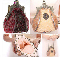 Wholesale Vintage Glass Bead Chain - 2016 New Evening Bag Handmade Glass Beads Clutch Bag Delicate Banquet Bags Vintage Wedding Party Purse
