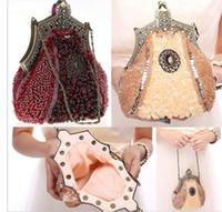 ingrosso nuove frizioni fatte a mano-2016 nuova borsa da sera perline di vetro fatti a mano pochette delicati sacchetti per banchetti borsa da festa per matrimonio vintage