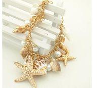 Wholesale Pretty Tops - Top Quality charm Bangle bracelets jewelry Pretty Lady Metal bracelets for women sea shell chain & link pearl bracelet