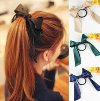 Wholesale Diamond Ponytail Holders - 2016 New Women Designer Headwear Solid Hair Ribbons Band Rope Scrunchie Ponytail Holder Silk Ribbon Bow Hair Accessories