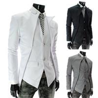 Wholesale Collar Stand Design - 2015 Men Suits new men's asymmetric design fake two piece leisure suit boys suits wedding suits