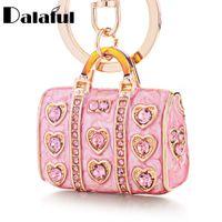 Wholesale stylish bags for men - beijia Enamel Crystal Heart HandBag Keychains Stylish Purse Bag Buckle Pendant For Car Keyrings key chains holder women K234