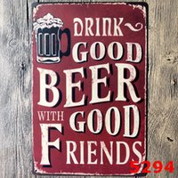Wholesale Good Cartoon People - DRINK GOOD BEER WITH GOOD FRIENDS Metal Tin Sign ART Home Painting Poster Craft Gift Decor