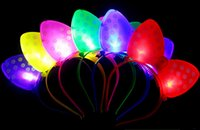 Wholesale Headbands Free Ems - 336PCS Free Shipping EMS New Arrival Cute LED Luminous Bow Hairpin Headband Festive Party Supplies Luminous Decorations For Children Gifts