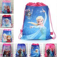 Wholesale Shopping Bags For Kids - Non-woven Frozen bags Anna Elsa Kristoff Olaf cartoon backpack school bag for girl shopping kids children's Christmas gift Free FedEx DHL