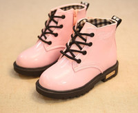 Wholesale Tie For Children Girls - fashion Autumn 2016 children leather boots kids martin boots snow boots for girls boys rubber boots