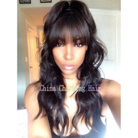 Wholesale super human hair wigs online - Super quality Body wave Malaysian Virgin Human Hair Glueless Full lace Wig Front Lace Wig In Stock With Straight Bangs DHL