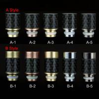 Wholesale Carbon Pen - Two different styles Carbon Fiber Stainless steel 510 Drip Tips wide bore Drip Tip for RAD Vivi Nova Protank e cig vaporizer pen