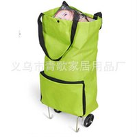 Wholesale Hot Wheels Green - free shippin Hot sale foldable box green shopping bag with wheels portable storage bag free shipping