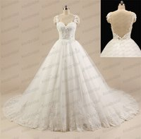 Wholesale Tulle Pearls Trim - 2015 Real Images Princess Ball Gown Wedding Dresses Illusion Straps Sweetheart Backless Tulle Bridal Gowns with Lace Trimmed Chapel Train