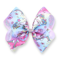 Wholesale Hair Bows Supplies - 12pcs 8 Inch Unicorn Jojo Bows Unicorn Birthday Party Supplies Alligator Clips Jojo Bow Unicornio Prints Hair Bows Unicorn Party Favor