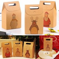 12pcs Kraft Paper Candy Box Confezione regalo di Natale Borsa Zakka Craft Bakery Cookies Biscuit Package Bags Natale Bomboniere